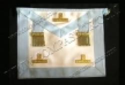 Tablier Vénérable Maitre Rite R.E.R. avec pendeloques, taus dorés