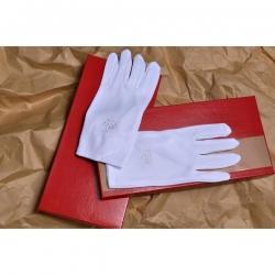 gants nylon blanc homme décors maçonniques