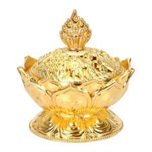 Brûle-encens lotus couleur or