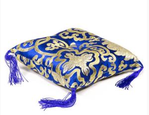 Coussin bleu fleuri pour bol tibétain