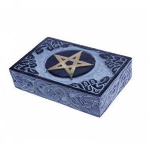 Boîte pour tarots en pierre à savon motif pentacle
