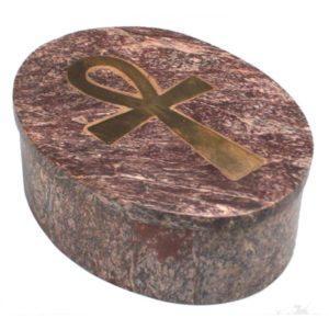 Boîte ovale en pierre à savon symbole Ankh