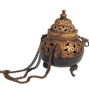 Brûle-encens à suspendre en laiton style antique