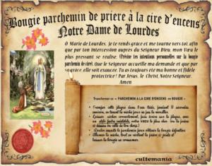 Bougie parchemin de cire à l'encens Notre dame de Lourdes