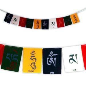 Drapeaux de prière tibétains OMPMH en velours luxe
