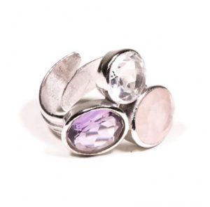 """Bague réglable """"Triangle d'or"""" (Améthyste, quartz rose, cristal de roche)"""