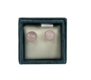 Boucles d'oreilles perles de quartz rose 6 mm