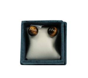 Boucles d'oreilles perles d'oeil de tigre 6 mm
