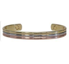 Bracelet en cuivre avec aimants Jonc arrondi 3 métaux