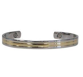 Bracelet en cuivre avec aimants Jonc plat 2 métaux