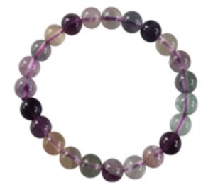 Bracelet en fluorite fluorine multicolore 8 mm