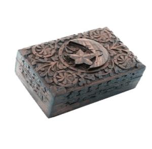 Boîte pour tarots étoile et lune en bois sculpté
