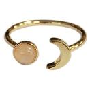 Bague ajustable Lune et Perle de quartz rose