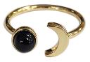 Bague ajustable Lune et Perle d'onyx noire