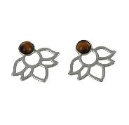 Boucles d'oreilles Perles et lotus Œil de tigre