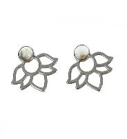 Boucles d'oreilles Perles et lotus Agate crazy lace