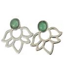 Boucles d'oreilles Perles et lotus Aventurine verte