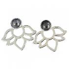 Boucles d'oreilles Perles et lotus Hématite