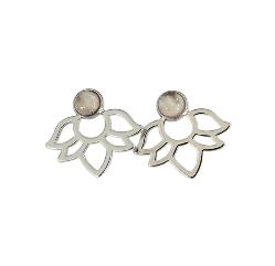 Boucles d'oreilles Perles et lotus Quartz Rose