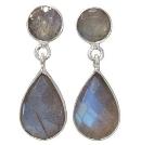 Boucles d'oreilles avec 2 pierres de Labradorite facettées et Argent 925