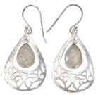 Boucles d'oreilles en Pierre de Lune et Argent 925 brossé