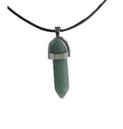 Collier Pointe en Aventurine verte avec cordon noir