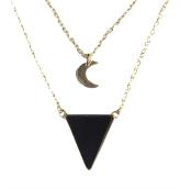 Collier Triangle et Lune Onyx Noir