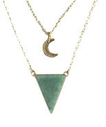 Collier Triangle et lune Aventurine verte