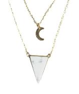 Collier Triangle et lune Howlite blanche