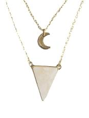 Collier Triangle et lune Quartz Rose