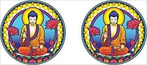 Ensemble de 2 Autocollants attrape-soleil Bouddha Petit Modèle