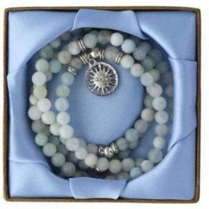 Mala 108 perles (6 mm) en Mix de Béryl et Médaille Mandala