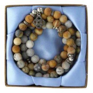 Mala 108 perles en Agate Crazy Lace et Médaille Fleur