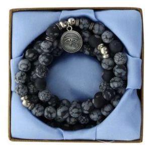 Mala 108 perles en Obsidienne Mouchetée et Médaille Oeil d'Horus