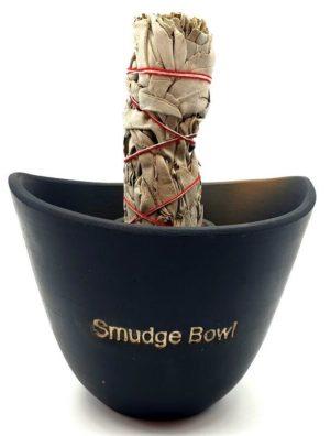 Bol de fumigation noir en céramique (Smudge bowl) 13 cm